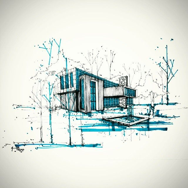 This minimalist drawing incorporates much emotion and feeling with only a simple amount of line work and strokes, and is very effective at revealing the atmosphere of/around the building to the viewer.