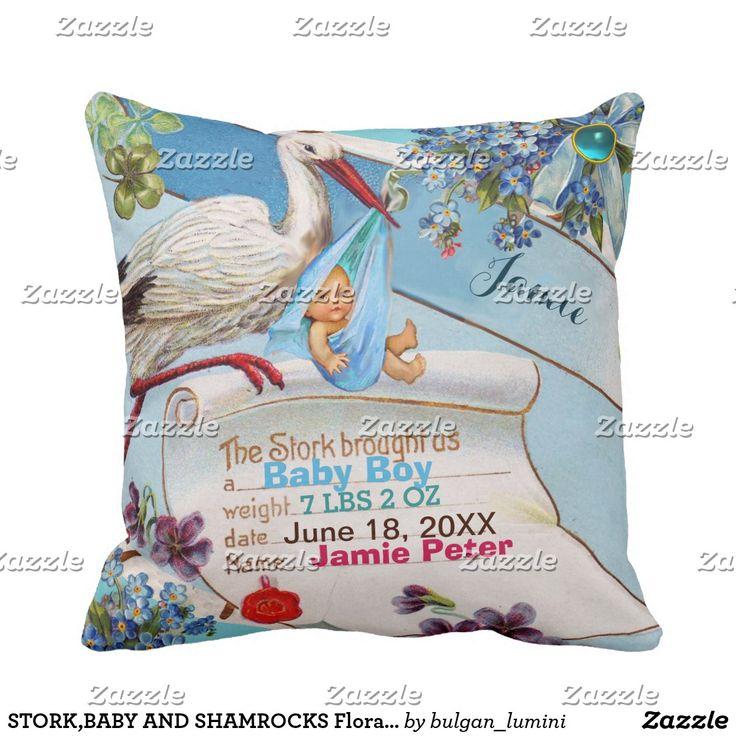 STORK,BABY AND SHAMROCKS Floral Boy Baby Stats Throw Pillow #flowers #birth #newbaby #animals #babystatus #pillows