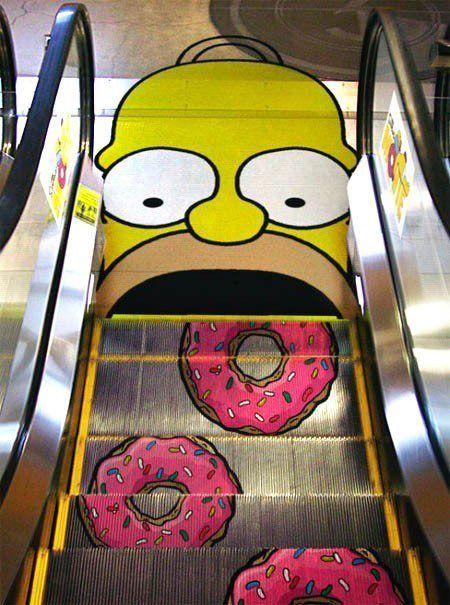 Homero, Donuts, Publicidad, Simpsons, Homer, Ad, Escaleras, Simpson, Springfield