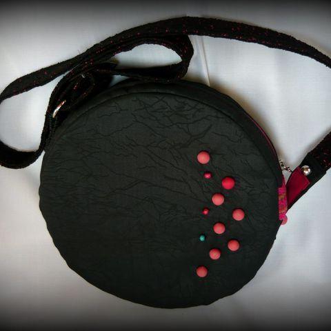 Fekete-pink körtáska, Táska, Ruha, divat, cipő, Válltáska, oldaltáska, Tarisznya, Meska
