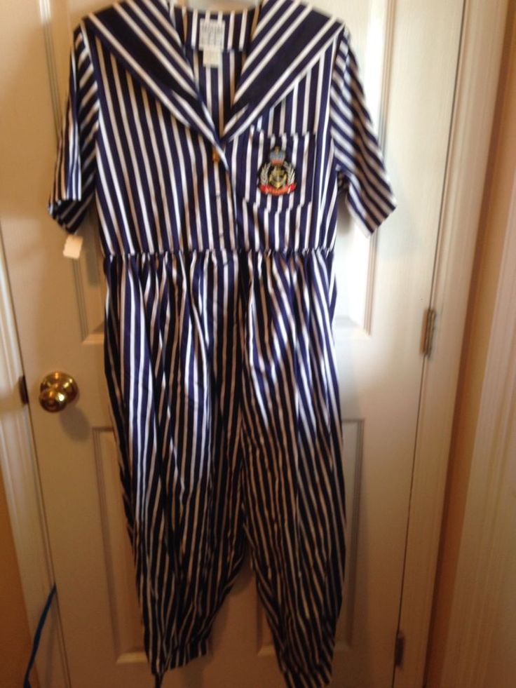 Vintage Maternity Jumpsuit Romper Nautical Small NWT 80s Baggy Cute Matching Bow #LucyCarr