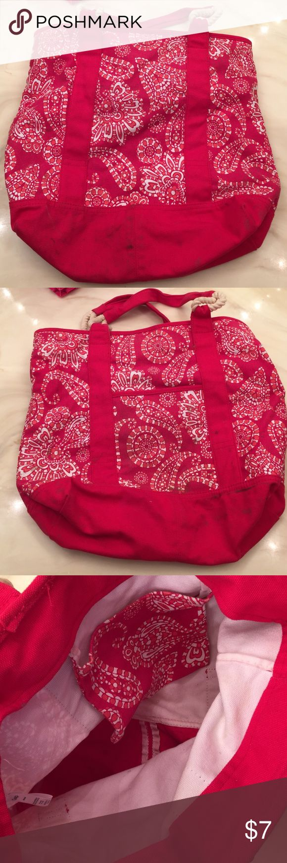 Gap tote Red gap tote. See pictures for stains. Otherwise good condition. GAP Bags Totes