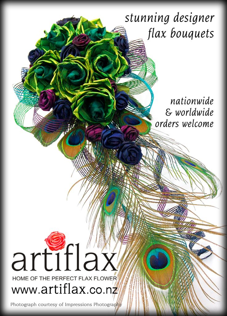 Bride & Groom Magazine - Issue 77  Flax flower peacock wedding bouquet by Artiflax