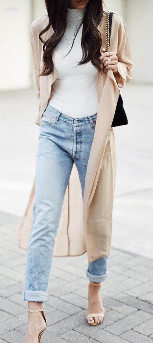 Beige Coat // White Turtleneck Sweater // Bleached Jeans // Nude Sandals                                                                             Source