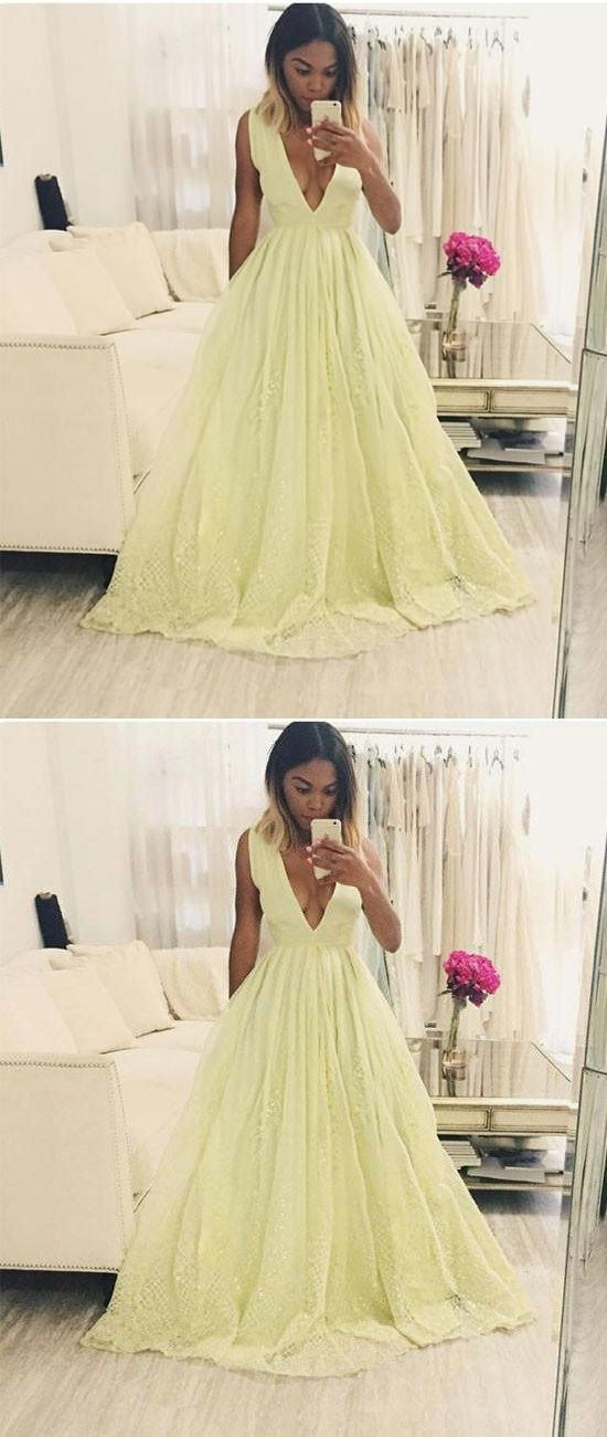 YELLOW A-LINE V NECK LACE LONG PROM DRESS, YELLOW EVENING DRESS #yellowpromdresses #prom #dresses #longpromdress #promdress #eveningdress #promdresses #partydresses