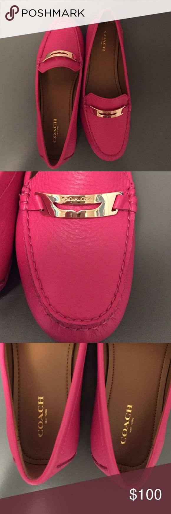 Amazing COACH Flats  Beautiful, NWOT, COACH Flats/Loafers. These are brand new only worn to try them on in the store. They are a fun, hot pink color with gold hardware. Perfect for spring or summer! Coach Shoes Flats & Loafers