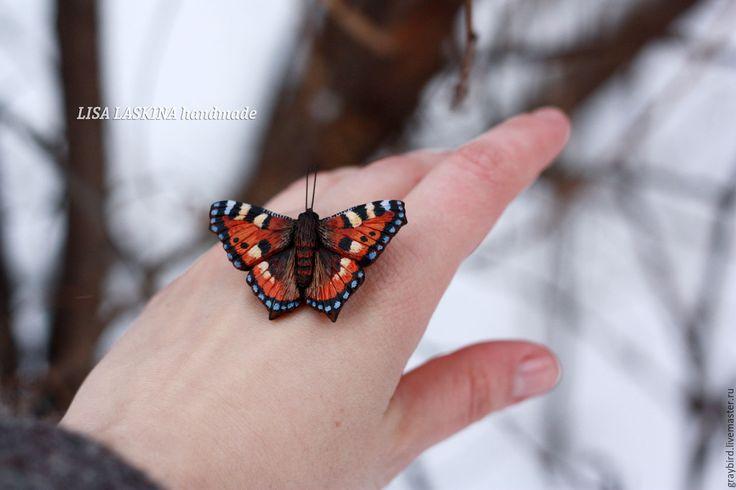 Купить Брошь Крапивница - рыжий, бабочка, весна, лето, бабочки, насекомое, насекомые, полимерная глина
