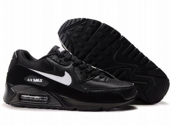 Nike Air Max 90 Mensen Alle Zwart Wit Logo