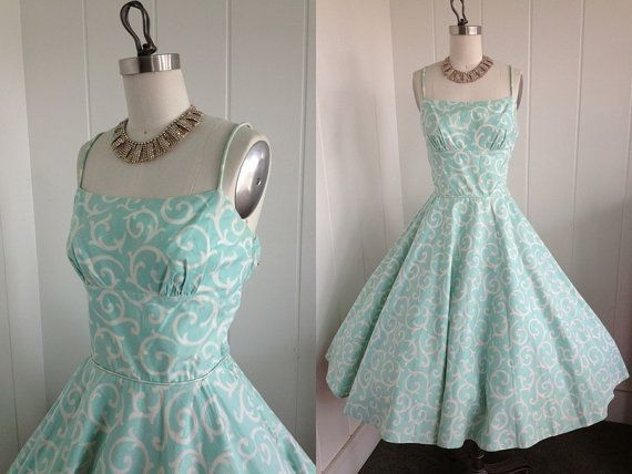1950s Vintage Baby Blue and White Spring Dress by vintagebluemoon, $210.00