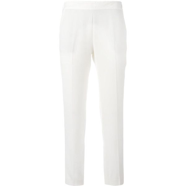 Alberto Biani Cropped Trousers ($189) ❤ liked on Polyvore featuring pants, capris, cropped trousers, white cropped trousers, white pants, cropped capri pants and white trousers