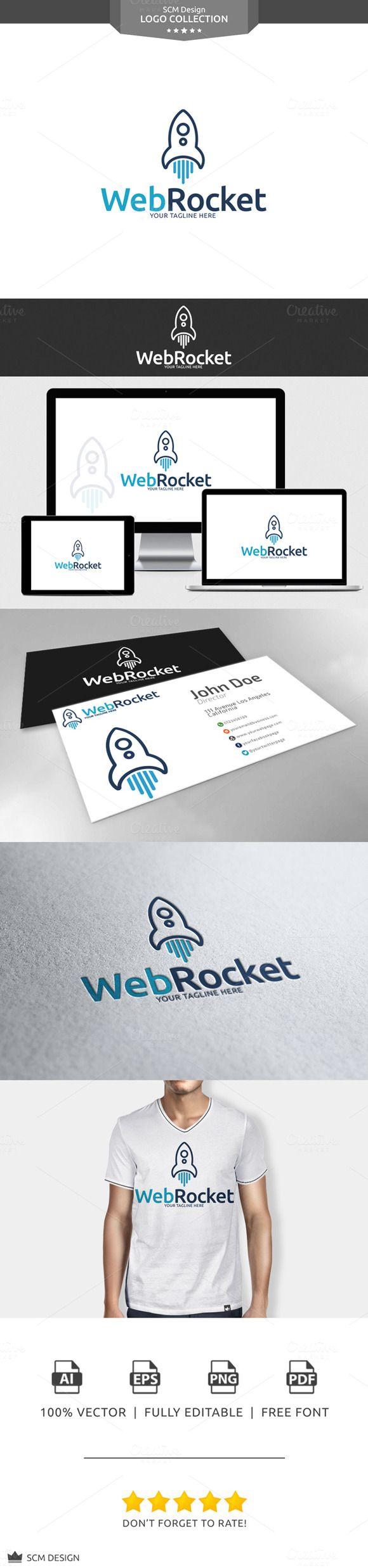 Web Rocket Logo by Seceme Shop on Creative Market