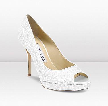 White Glitter Wedding Shoes