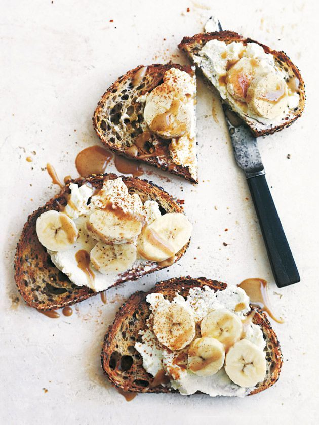 Ricotta and banana toasts with cinnamon tahini.