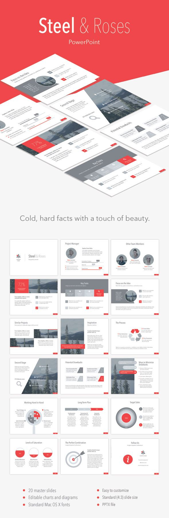 Steel & Roses PowerPoint Template (PowerPoint Templates)