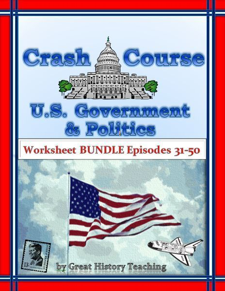Save heaps of money on U.S. government crash course worksheets with this bargain bundle of 20 episodes that make teaching and learning fun! These Crash course government worksheets cover episodes 31-50, including: • Discrimination  • Affirmative Action  •  Public Opinion  • Shaping Public Opinion  • Political Ideology  •  Foreign Policy  • Elections  • Gerrymandering  • How Voters Decide  • Political Campaigns •  Political Parties • Party Systems • Interest Groups and much more!