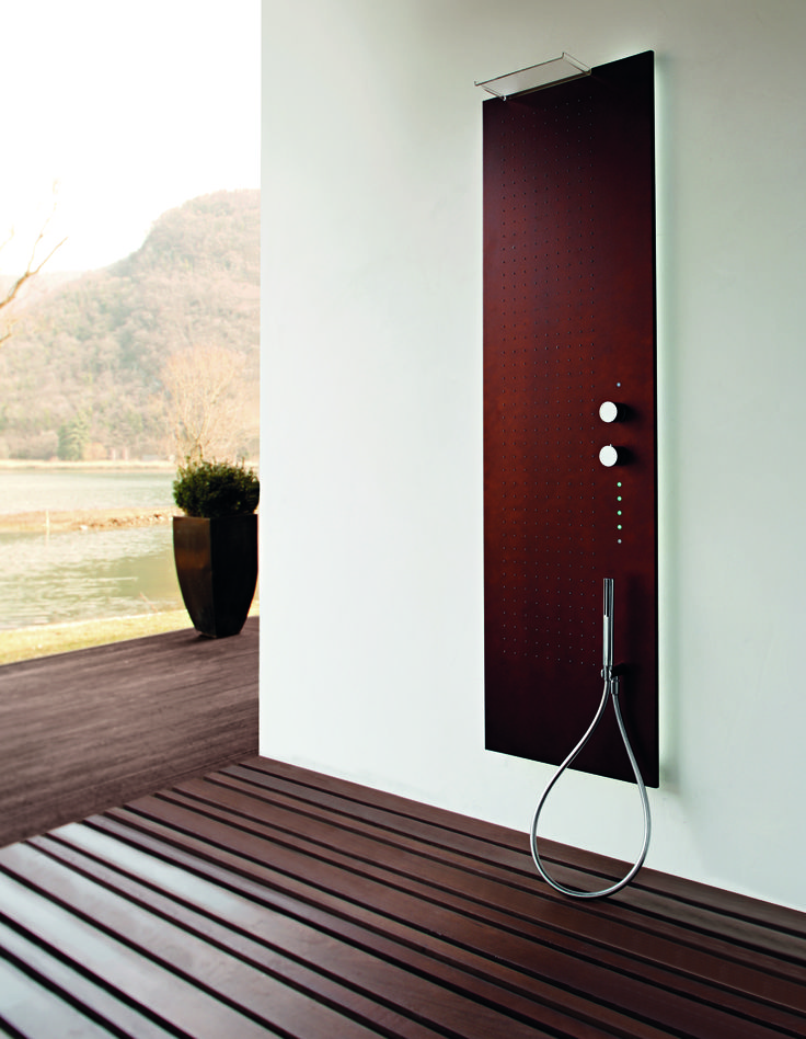 Contemporary Acquapura Semi- Recessed Shower Panel by Fantini