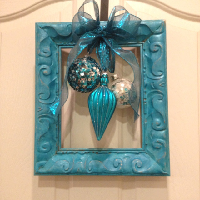 Cute & easy Christmas frame wreath with ornaments. (Use red, turquoise, and silver ornaments to tie into already existing decor.)