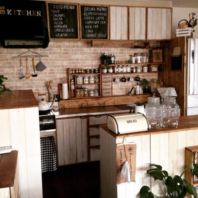 キッチン 掃除完了 カフェ風インテリアを目指して 棚diy キッチン扉