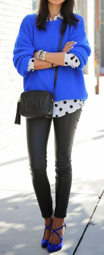 Sweater and polka dot top underneath