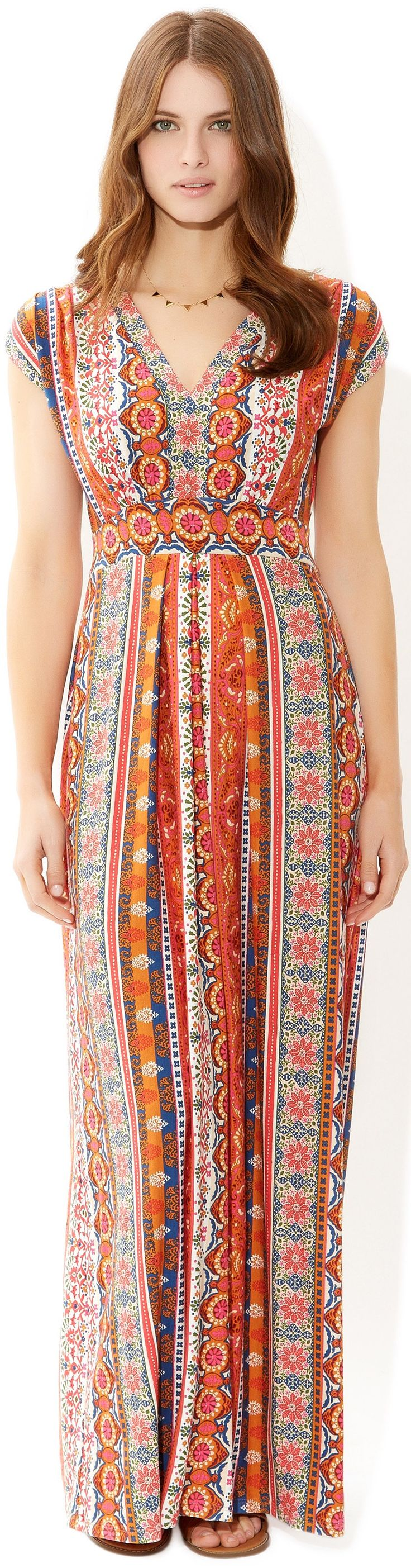 I love the folk print on this travel maxi dress I think it's stretch jersey, cute.   Wear with tan boots and cardi in fall, flipflops for Hawaii on the beach... just love the colors. ANYWAY... Read UPDATED ARTICLE: http://www.boomerinas.com/2014/03/28/what-i-wear-when-i-travel-to-europe-stretch-jersey/