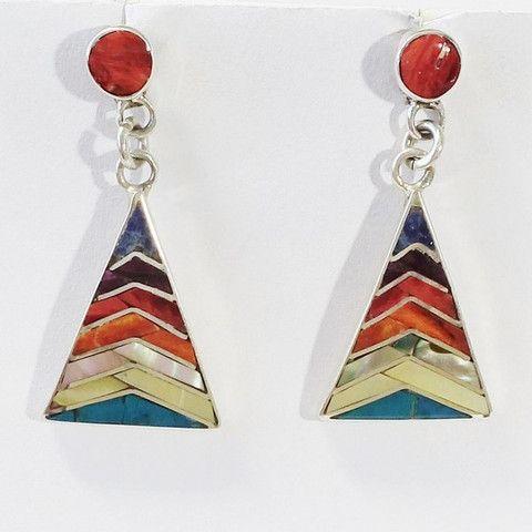 boucles d'oreilles péruviennes en argent et pierres fines