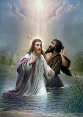 Christianity Art - John the Baptist baptizes Jesus Christ