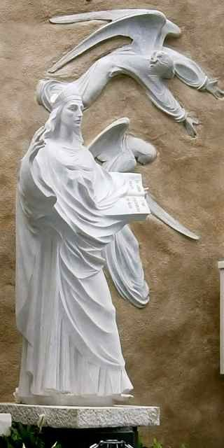 Statue of the Apparition of St John the Evangelist and Angels exactly at the spot they appeared with Our Lady at Knock, Ireland  …  http://corjesusacratissimum.org/2015/09/the-gentle-traditionalist-on-the-superiority-complex-of-the-1960s/