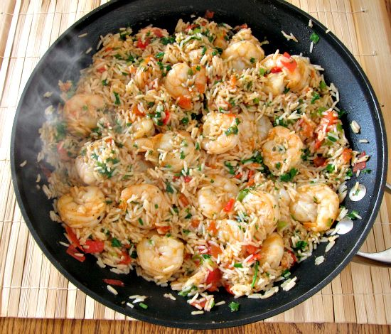 Cajun Shrimp and Rice:  If you know me you know I love spicy food & hate tomatoes. So I may a couple of modifications to this recipe. It was delish! The only thing i changed was that I used a can a Rotel instead of the stewed tomatoes.  Also, on the next go 'round I'll use less Cajun seasoning because my poor husband was sweating trying to eat this spicy dish.
