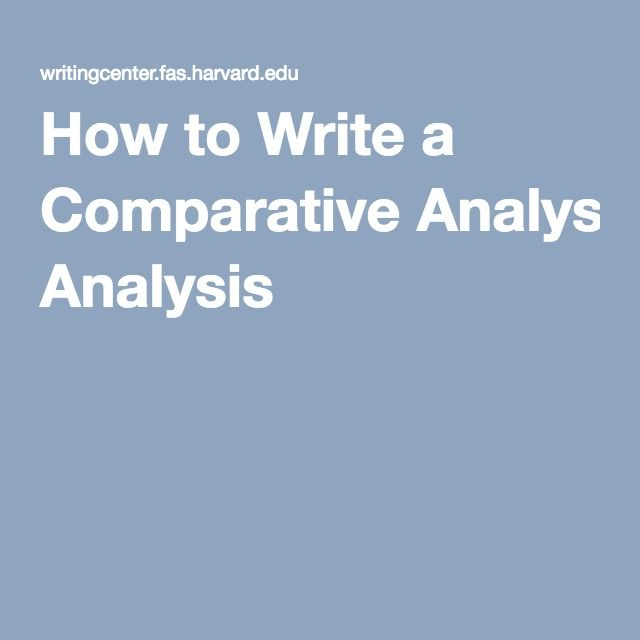 How to Write a Comparative Analysis |