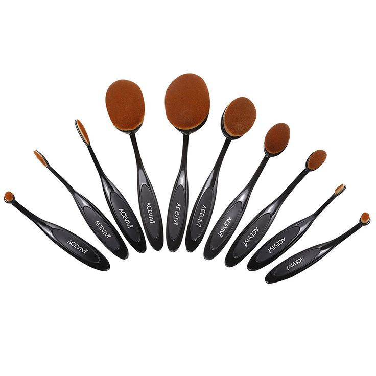 ACEVIVI 10 Pcs Oval Toothbrush Makeup Brush Toothbrush Super Soft Professional Foundation Powder Cream Blusher Multifunction Cosmetic Brush Set * Check out the image by visiting the link. (Note:Amazon affiliate link)