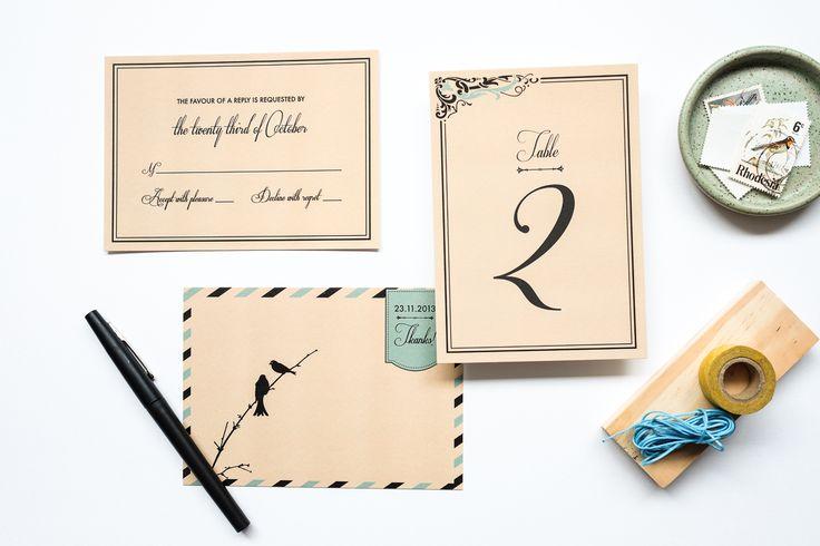 Convite de Casamento romântico com inspiração retrô. Impressão em serigrafia 2 cores, save the date, RSVP, menu, livrinho, numeração de mesa, marcador lugar