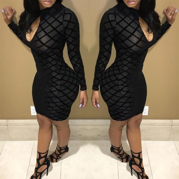 Sexy Black Cut Out Mesh Bodycon Dress