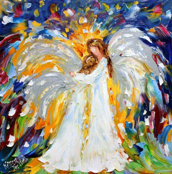 Original oil painting Heavenly Hugs Angel Abstract Figurative Palette ... Oil Paintings Of Angels