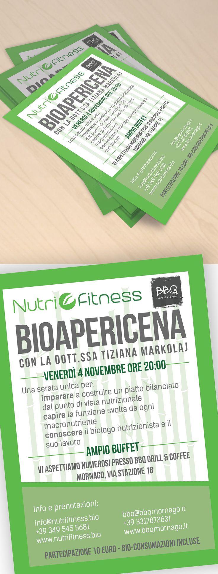 A3 / A5 flyer for nutrition event with Dr Tiziana Markolaj for Nutrifitness.  Volantino A3 / A5 per evento di nutrizione con la dottoressa Tiziana Markolaj per Nutrifitness.