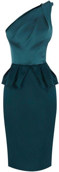 KAREN MILLEN ENGLAND Signature Satin Dress in Blue Teal
