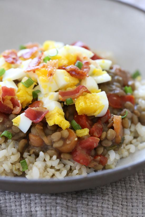 Lentil and Rice Bowls with Eggs and Bacon | Skinnytaste