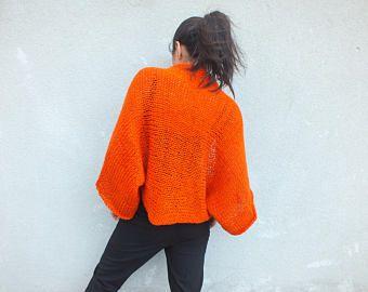 Naranja encogiéndose de hombros, encogiéndose de hombros de la mujer, de punto todo, cubierta del vestido para arriba, todo punto, boleros para las mujeres