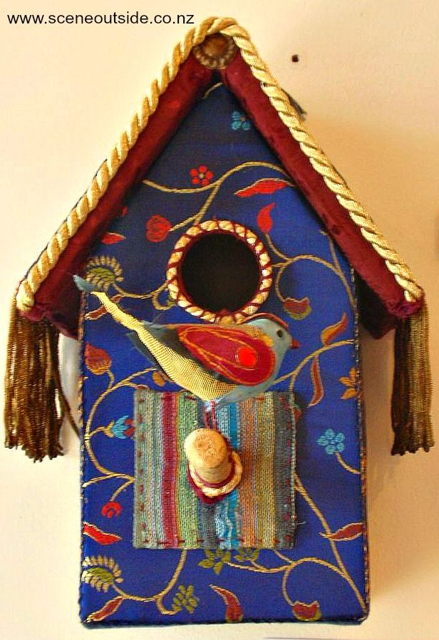 Colourful, indoor birdhouse, photographed at Birdwoods Gallery near Havelock North, New Zealand.