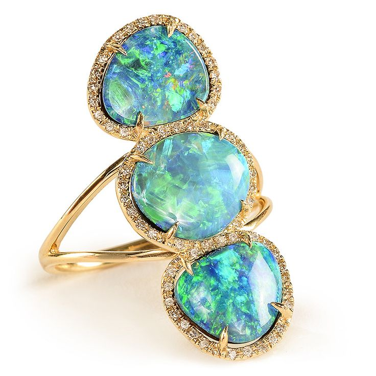 Getana Triple Opal and Diamond Ring | Greenwich Jewelers #opalsaustralia