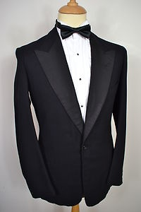 A VINTAGE 1920's HENRY POOLE OF SAVILE ROW, LONDON MEN'S WOOL 2-PIECE TUXEDO SUIT! Henry Poole made the suits for the likes of Fred Astaire, Clark Gable and Sir Winston Churchill. Henry Poole & Co. invented the tuxedo in the late 19th century as a more casual dinner suiting for their client the Prince of Wales. After an American saw it and ordered one for himself, which he wore for dinner in the Tuxedo Club in New York, the tuxedo was born.