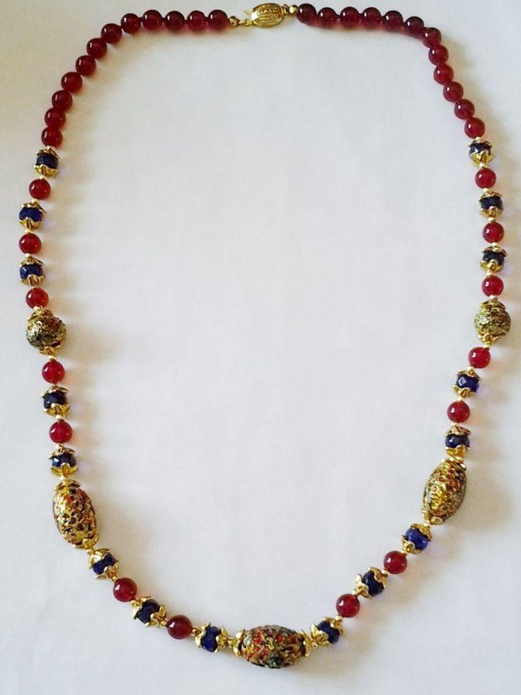Collana Veneziana  collana in vetro nei tipici colori veneziani rosso, blu e oro, lavorazione artigianale di Murano
