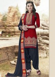 Casual Wear  Cotton Red Embroidered Work Patiala Suit