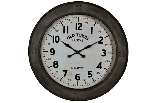 The Old Town Oversize Wall Clock will create a modern urban feel to your living space. Finished with a grey/green steel effect casing it is modern but with a sense of old charm. Oversize clocks are very 'IN' at present and many people will use a clock like this instead of a mirror or picture when decorating their room so the clock is not only functional but become part of the room's décor. 98cm €269  http://www.michaelmurphy.ie/product/old-town-circular-clock/