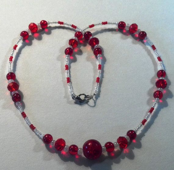 18 inch handmade red and white Chinese crystal by MGBeadCreations, $25.00