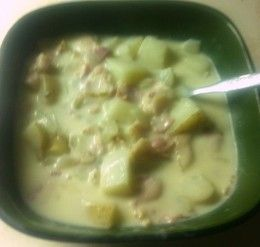 A creamy homemade bacon potato soup that tastes better than Tim Hortons . This soup can be made in less than an hour.