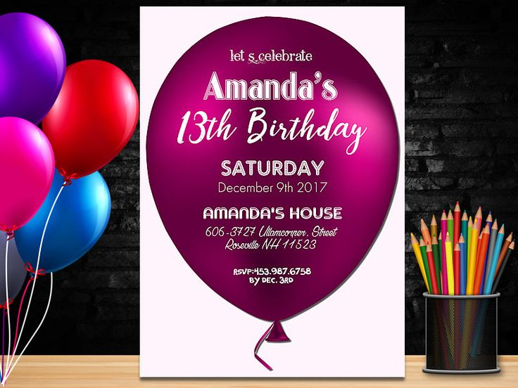 Birthday Invitation girl, Printable Birthday Party Invitation, Pink Birthday Invitations, Balloon invitations, Onederland invitation by PrintablesForEvents on Etsy
