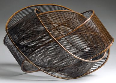 by 'Sound of Wind' by Japanese artist Uematsu Chikuyu (b 1947). Bamboo & lacquer. via Contemporary Basketry