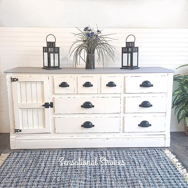 Love the finish on this Farmhouse Style Shabby Chic White