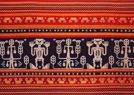 Ceremonial panel from Sumba. Ikat cloth is made in many scattered regions of the Indonesian Archipelago