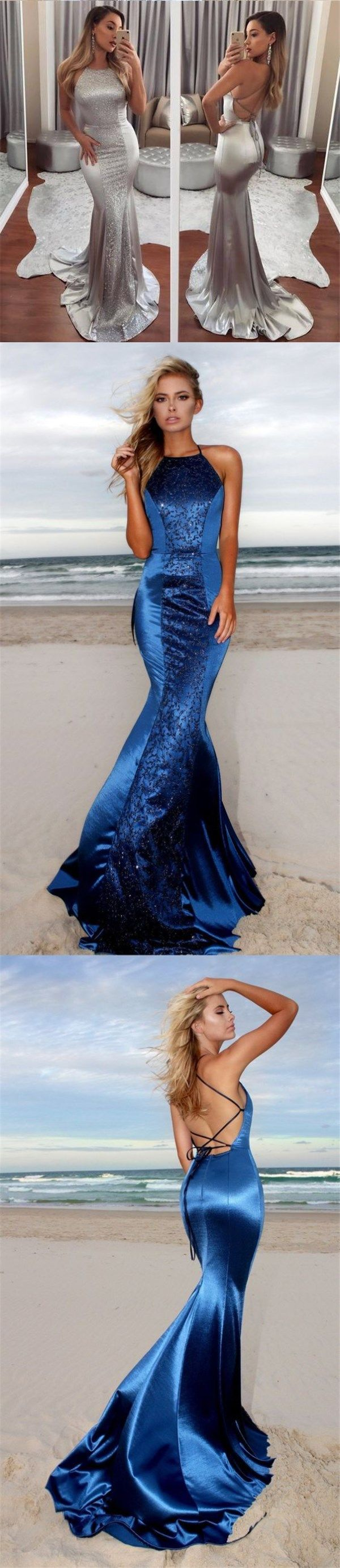 Charming Blue and Silver Sparkly Prom Dresses, Fashion Newest Gorgeous Prom Dress, Evening Dress, PD0437